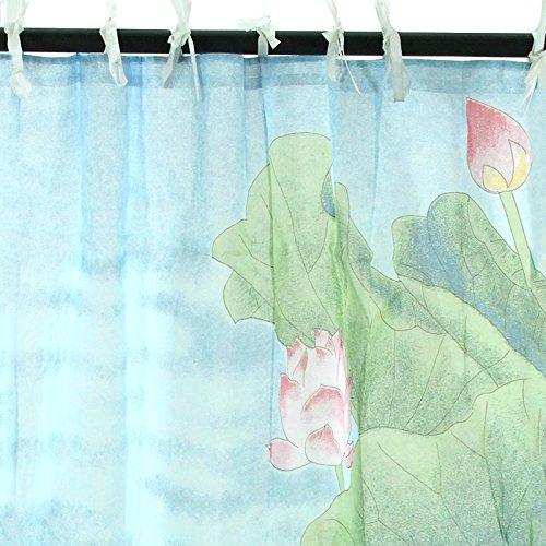 Tenda Blu con Fiori di Loto (110cm x 250cm) 100% Cotone