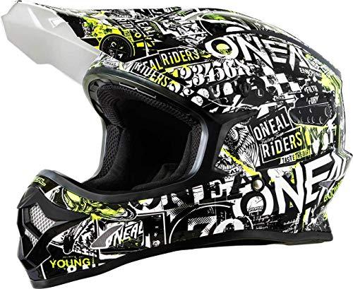 O'NEAL 3 Series Attack Youth Kinder Motocross Enduro MTB Helm schwarz/gelb/weiß 2018 Oneal: Größe: M (49-50cm)