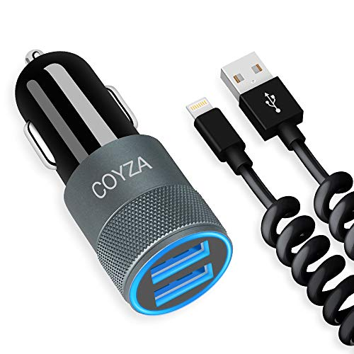 COYZA Car Charger, 24W 4.8A Dual USB Fast Charging Adapter, Compatible with Apple iPhone 11 Pro Max XS XR X SE 2020 8 Plus 8s 8 7s 7 6s 6 5 iPad Air Mini, Flexible Coiled Charging Cable Cord Included
