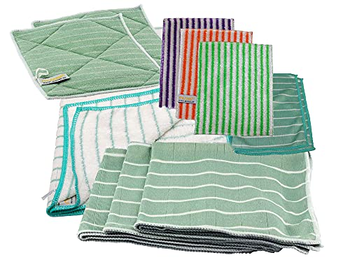 Bambus-Tuch Mega Set - Für streifenfreie Glas und Fenster Reinigung - mit dabei EIN Trockentuch, kleine und große Reinigungs Pads und 3 Bambustücher