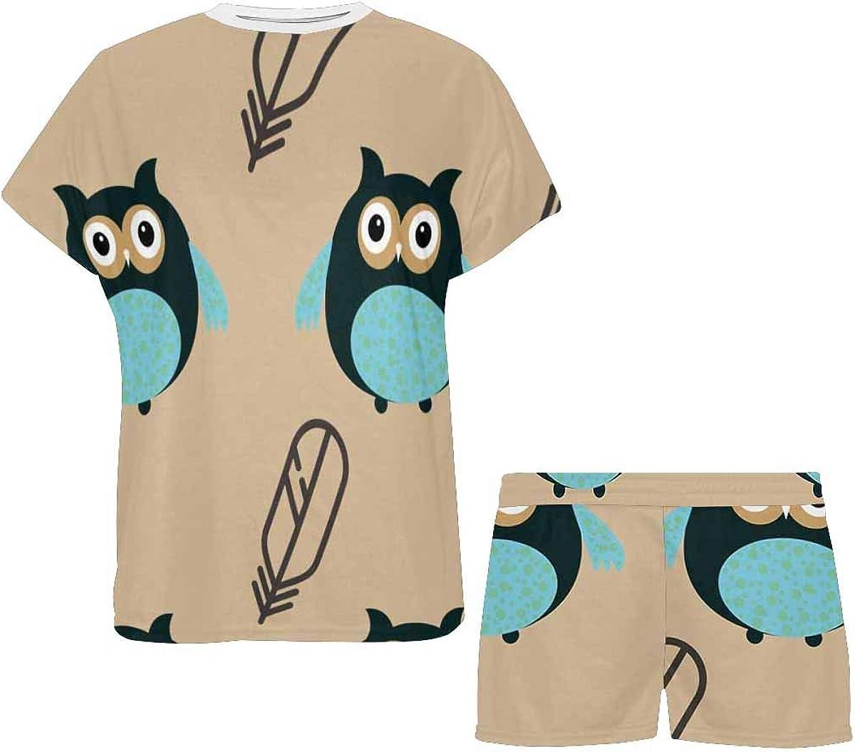 INTERESTPRINT Owl Pattern Blue Women's Lightweight Pajama Set, Short Summer Pjs