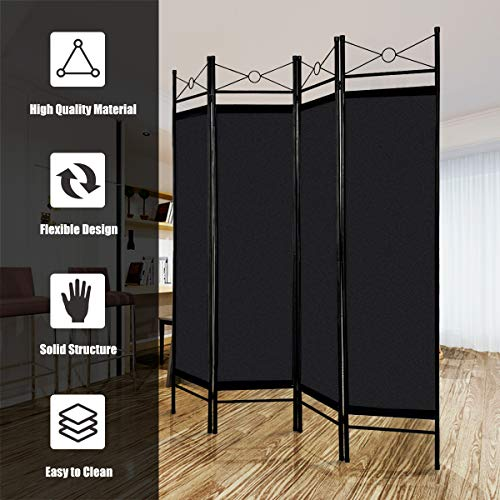 Giantex-4-Panel-Room-Divider-Privacy-Screen-Home-Office-Fabric-Metal-Frame