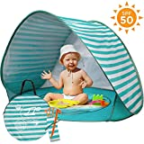 UPF 50+ Pop Up Beach Tent, Portable Baby Sun Shelter with Baby Pool UV Protection & Waterproof Windproof Beach Shade Sun Tent for Kids