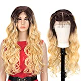 NOBLE Blonde Easy 360 Lace Frontal Wigs Big Head Friendly|28 inch Long Wavy Wigs HD Transparent Lace Front Wigs|Synthetic Ombre Blonde Wigs for Women