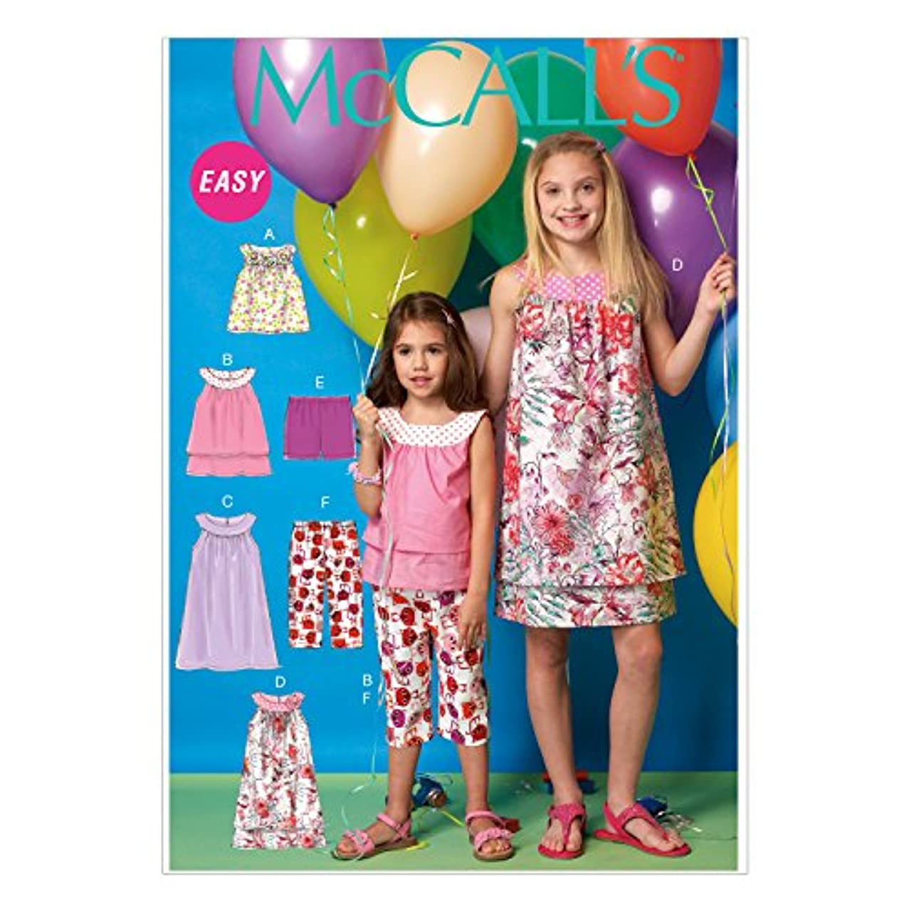 McCall's Patterns M7148 Children's/Girls' Tops, Dresses, Shorts and Capris Sewing Template, CCE (3-4-5-6)
