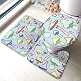 Bath Mat Sets, Colorful Mushroom U-Shape Bathroom Rugs Lid Toilet Cover 3-Piece Accessories with...