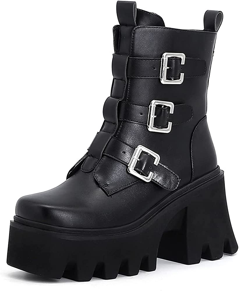 Womens Goth Combat Ankle Bootie Side-Zip Non-Slip Platform Chunky High Heel Punk Motorcycle Knight Mid Calf For Women