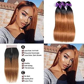 Royal Remy Ombre Brazilian Straight Hair 3 Bundles with Closure 10A Ombre Hair Bundles With Closure 2 Tone T1B/30 Black to Medium Auburn Human Hair Weave Bundles with Lace Closure(10 12 14+10)