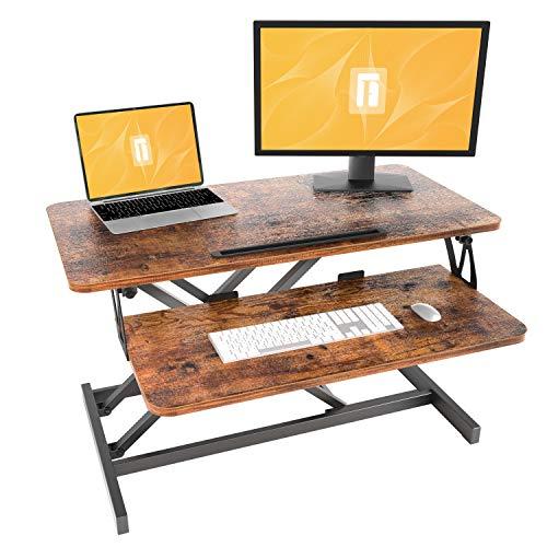 FEZIBO Height Adjustable Standing Converter, 32 inches Desk Riser, Sit Stand Desk Ergonomic Tabletop Workstation Rustic Brown