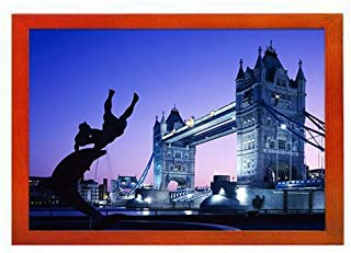 PUPBEAMO Art Print Picture Frame Photo Frames - London Tower Bridge UK - Frame Made of Solid Wood For Table Top (Walnut,9x7 Inches)