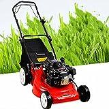 BKWJ Gas Powered Push Lawn Mower, 16Inch Cordless Lawn Sweeper, Gasoline Engine, 4-Stroke Walk-Behind Lawn Trimmer for Garden Yard