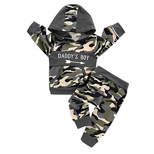 DaMohony Nyfödd bebis pojke kläder kostym kamouflage tryck med huva topp + byxor 2 st pojkar kläder kläder kläder kläder för 0-24 månader