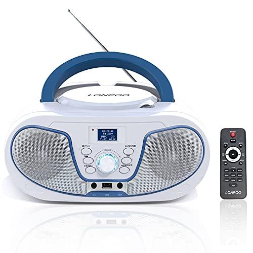 LONPOO DAB Radio mit CD Player Tragbar Boombox, Bluetooth/DAB & UKW Radio/USB Eingang/AUX-IN, 2 x 2Watt RMS Stereoanlage, AC/DC Support (mit Fernbedienung)
