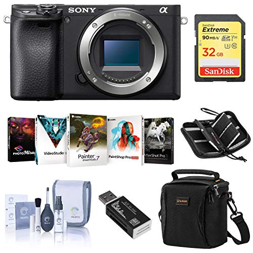 Sony Alpha a6400 Mirrorless Digital Camera Body - Bundle with Camera Case, 32GB SDHC U3 Card, Cleaning Kit, Card Reader, Memory Wallet, PC Software Package