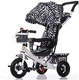 Cochecitos de paseo para niños Triciclo, Bebé Push Bicicleta Choque Fácil Plegable Carro Multi Función Niños Cochecito de Bebé Unisex Niñas Niños Niños Bebé Productos cebra