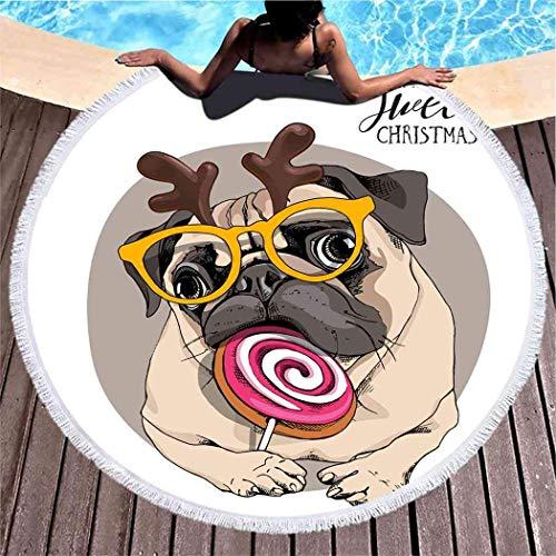Divertida toalla de playa de color beige adorable cachorro perrito de Papá Noel grande redondo toalla de playa, manta de microfibra para yoga de hombre 59 pulgadas