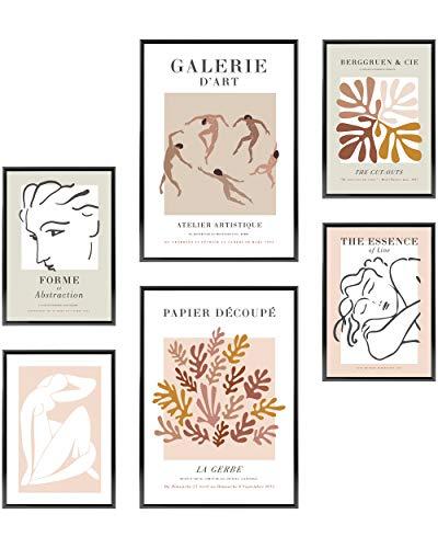 Heimlich Cuadros Decorativos - SIN Marcos - Decoración Colgante para Paredes de Sala, Dormitorios y Cocina - Arte Mural - 2 x A3 (30x42cm) et 4 x A4 (21x30cm) | »Abstract Pink Matisse «