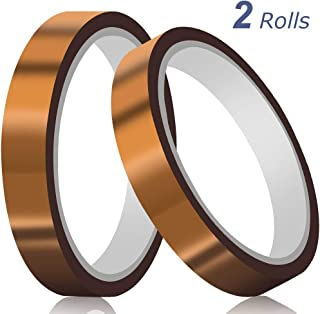 High Temperature Tapemil Thick Polyimide Adhesive Tape(15mmX36Yds ) for Heat Transfer Vinyl Heat Resistant Tape Heat Press Tape Sublimation Tape