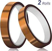 """2 Rolls (0.4""""x108ft) CHRYSAN Heat Resistant Tape for Heat Press, Up to 500℉High Temperature Polyimide Tape, Ideal Solution for Heat Transfer, Sublimation, Masking, 3D Printing and More"""