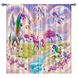 ANHOPE Unicorn Curtains Colorful Fantasy Art Theme Window Drapes with Rainbow Waterfall Butterfly Flower Print Pattern Rod Pocket Decor Curtains for Girls Bedroom Kids Room, 2 Panels, 28 x 48 Inch