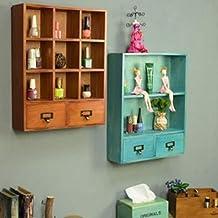Multi-functional Wall Rack Wooden Drawer Type Cabinet Desktop Cosmetic Storage Box Storage Storage Display Wall Hanging Wa...