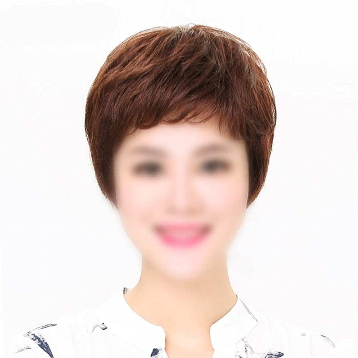 鎮痛剤バルブ調整可能BOBIDYEE ママデイリードレスパーティーウィッグのためのかつら自然な人間の髪の毛の拡張子ストレートヘア (色 : Natural black, サイズ : Hand-woven heart)