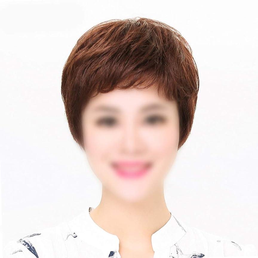 期間セブン障害者HOHYLLYA ママデイリードレスパーティーウィッグのためのかつら自然な人間の髪の毛の拡張子ストレートヘア (色 : Dark brown, サイズ : Mechanism)