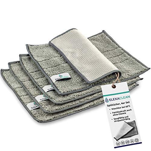 ELEXACLEAN Spültücher waschbar - Mikrofaser (Grau, 4er Set, 24x20cm) Spüllappen für Küche, Geschirr