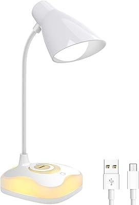 Lampada da Tavolo, OMERIL Lampada da Scrivania con Luce Calda alla Base, Ricaricabile Lampada da Scrivania a LED con Sensore Touch e 3 Livelli di luminosità per Studio, Lettura, Cameretta di Bambini
