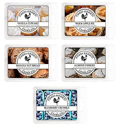 Farm Raised Candles - Farmhouse Bakery Variety Mix 5 Pack - 1 Pound of Wax - 100% Plant-Based Soy American Made Wax Melts - Scented Wax Warmer Cubes....