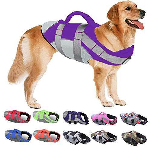 PJDDP Schwimmweste Für Hunde,Hundeschwimmweste,Ripstop Reflektierend Rettungswesten Für Hunde Mit Überlegenem Auftriebs Und Rettungsgriff,Schwimmmantel Schwimmtraining Für Hunde,Lila,L