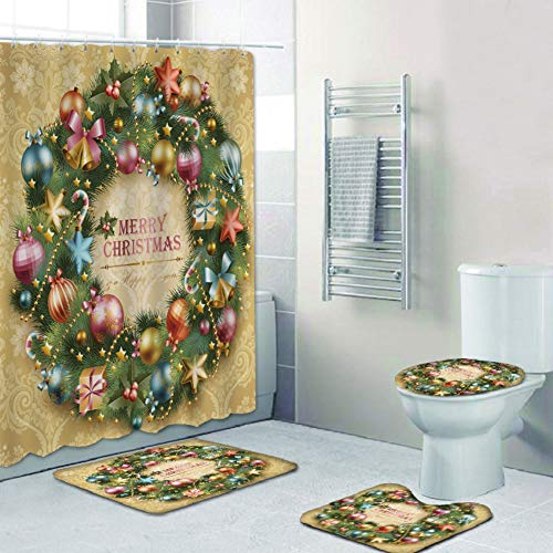 Moresave 4Pcs/Set Christmas Shower Curtain Waterproof Polyester Bath Curtain Non-Slip Pedestal Rugs Toilet Lid Cover and Bath Mat Set with 12 Hooks Home Bathroom Decor Xmas Gift