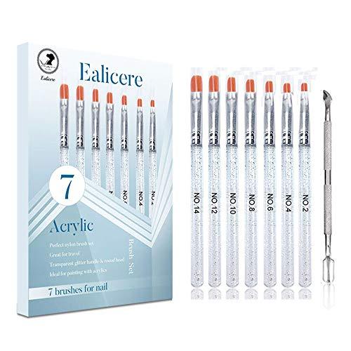7 Stück Ealicere Pinselset UV Gel Nagel Acryl Pinsel Nail Art Nagel Kunst Professionell Malerei Pen...