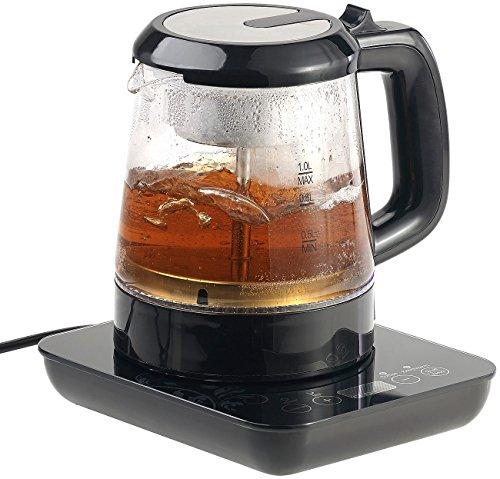 Rosenstein & Söhne Teeautomat: 2in1-Teebereiter & Wasserkocher mit Temperaturwahl, 1 Liter, 800 Watt (Wasserkocher mit Temperaturregler)