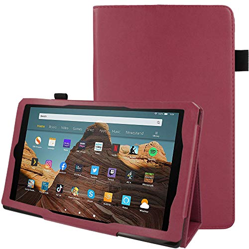 TECHGEAR Case Designed For All New Amazon Fire HD 10' (2019/2017 Release) Slim PU Leather Folio Stand Case Cover with Hand Strap [Plum] with Auto Wake/Sleep, Fits 9th & 7th Generation Fire HD 10