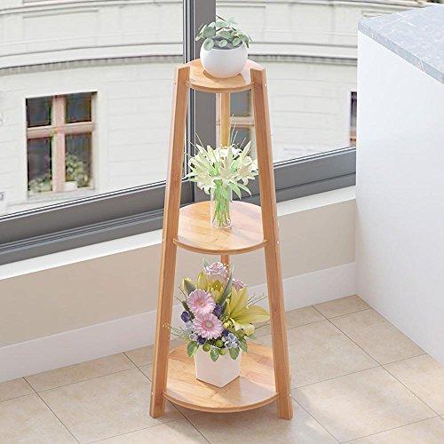 LLLXUHA Couleur Primaire Bois Massif Support de Fleurs, Type de Plancher intérieur Présentoir, Moderne Simple Étagère de Rangement, de Plein air Plein air Étagères, Primary Color, 22 * 37 * 97cm