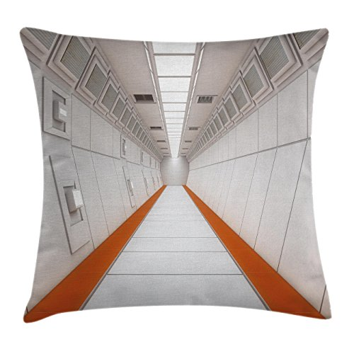 """Ambesonne Outer Space Throw Pillow Cushion Cover, Apocalypse Hallway Galactic Journey to Stars on Milky Way Landscape Print, Decorative Square Accent Pillow Case, 24"""" X 24"""", White Orange"""