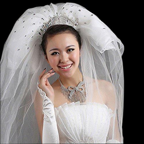 blanc perles brillantes luxueuses voile de mariée de mariée, de 3 mètres