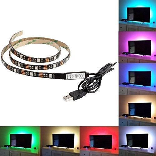 BMOUO USB LED Strip Light - 100CM(3.28Ft) Multi-color 30leds Flexible 5050 RGB USB LED Strip Light,TV Background Lighting Kit with 5v USB Cable And Mini Controller For TV/PC Background Lighting