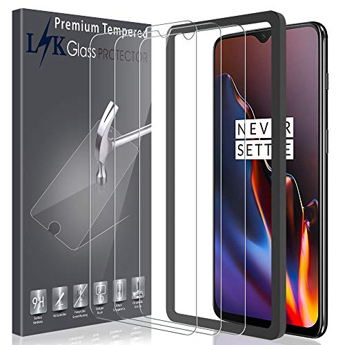 LK[3Pack]ScreenProtectorforOnePlus 6T TemperedGlass [New Verison] [Installation Tray] HD-Clear, 9H Hardness, Case Friendly