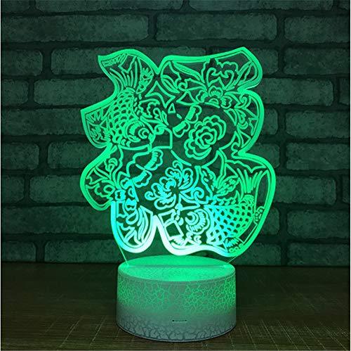 Base blanca Regalos empresariales Personalizados Nueva Lámpara Especial de Noche Colorido Color de la cama Lámpara 3d Habitación para niños Luz Usb Luz de Noche Led