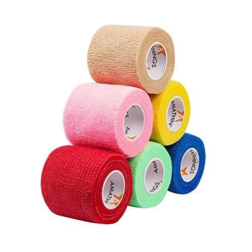 6 sztuk bandaży samoprzylepnych, kolorowe, elastyczne bandaże mocujące, szerokość 5 cm, długość 4,5 m, na palce, dłonie, palce, stopy, bez kleju, plastry na rany