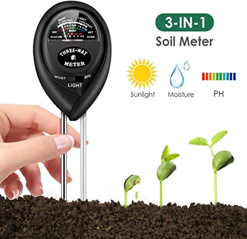 Soil pH Meter, 3-in-1 Soil Tester Kits with Moisture,Light and PH Test for Plant, Vegetables, Garden, Farm, Lawn, Indoor & Outdoor (No Battery Needed)