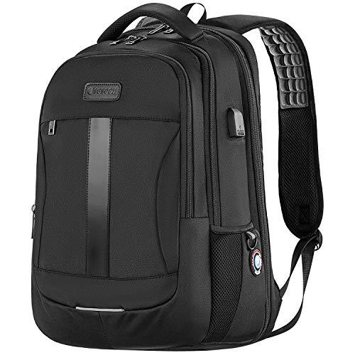 Laptop Backpack, Anti-Theft Business Travel Work Computer Rucksack with USB Charging Port, 15.6 Inch Large Lightweight College High School Bag for Boy Men Women, Black