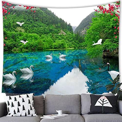 zhuifengshaonian weißer Schwan Wandteppich Wandbehänge Kreativer Tapisserie Wandtuch Hausdeko Strandtuch Tagesdecke Boho Deko (C-6055) 240x300cm