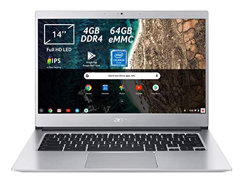 Acer Chromebook 514 CB514-1H-C0N4 Notebook Portatile, Intel Celeron Quad Core N3450, RAM 4GB DDR4, eMMC 64GB, Display 14' IPS Full HD LED LCD, Intel HD 500, PC Portatile, Google Chrome, Silver