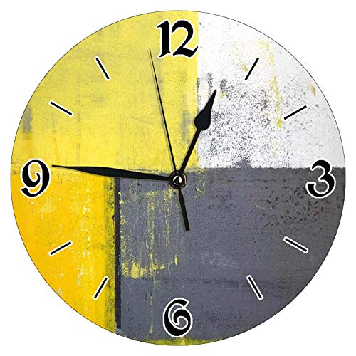 YiiHaanBuy Grey and Yellow Decorative Wall Clock, Street Modern Rock Abstract Square-Silent Wall Clock, Best Gift for Loved Ones, Friends, Couples -12 inches