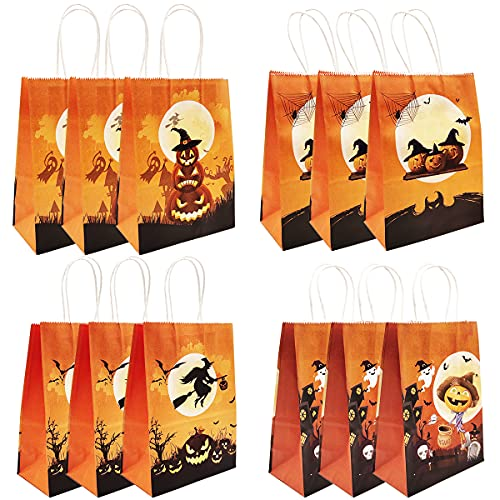 12pcs Halloween Paper Bag with Handles Party Supplies Favors Bags Nesloonp Sweets Bags with Handles for Kids Birthday Party Celebrations Halloween Theme Birthday Decorations Christmas 21 * 15 * 8cm