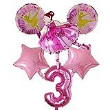 LAANYMEI Globos de cumpleaños Globo de Aluminio Muchacha del Ballet 18inch Estrella Rosada del Globo, Globo Decorativo for Fiesta de cumpleaños, invitación del cumpleaños (Color : 03)
