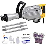 ReaseJoy 1700W Electric Demolition Jack Hammer Three Chisels Concrete Road Breaker Double Insulated with Steel Case